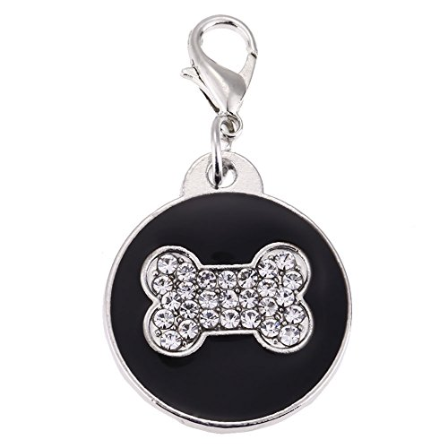 Rrimin Pet Cat Dog ID Tags Customized Personalized Round Feet Shaped Alloy Crystal (Black)