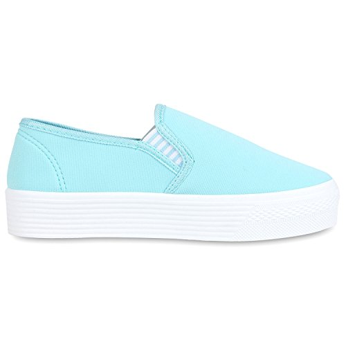 Komfortable Damen Sneakers | Bequeme Slipper| Funkelnde Glitzerapplikationen | Modische Plateausohle | Gr. 36-41 Himmelblau
