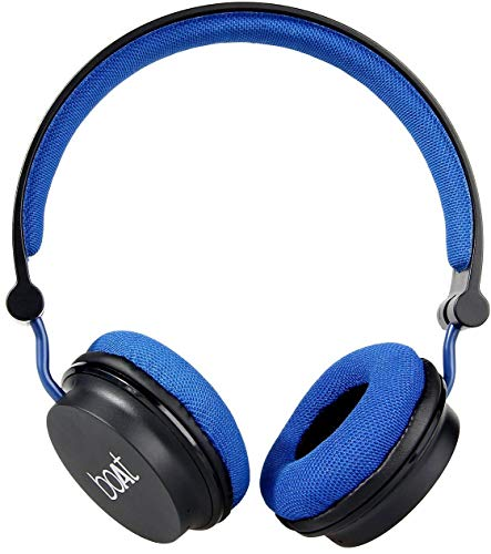 Boat Super Bass Rockerz 400 Bluetooth On-Ear Headphones with Mic (Black/Blue)