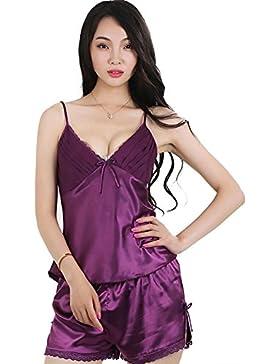 CHUNHUA Ms. pizzo imitazione pigiama di seta imbracatura pantaloncini corti pantaloni vestito tuta fessura (colore...