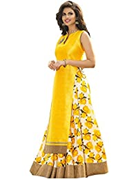 Zbuy Yellow Benglori Silk Printed Semi-Stitched Anarkali Suit