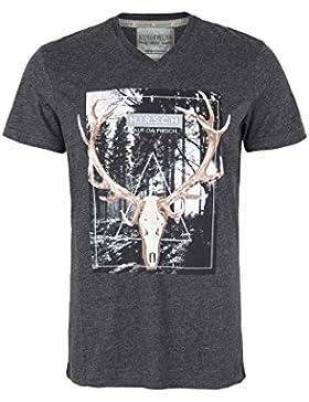Herren Hangowear Trachten T-Shirt 'Hirsch auf da Pirsch' anthrazit, anthrazit,