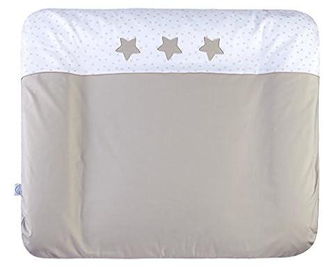 Julius Zöllner 2385116158 Wickelauflage Softy mit abnehmbaren Stoffbezug, Größe 75 / 85 cm, Sternstunde, taupe