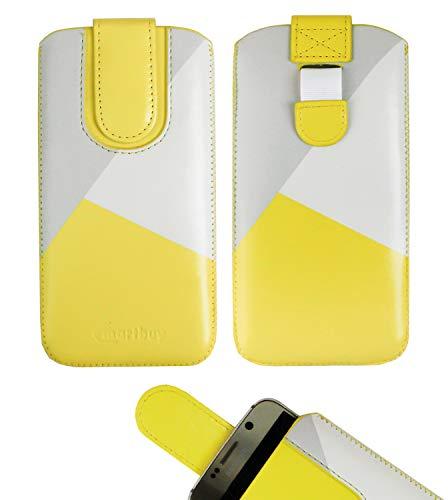 emartbuy Gelb/Grau Premium-Pu-Leder-Slide In Case Abdeckung Tashe Hülle Sleeve Halter (Größe LM4) Mit Zuglaschen Mechanismus Geeignet Für Die Unten Aufgeführten Smartphones