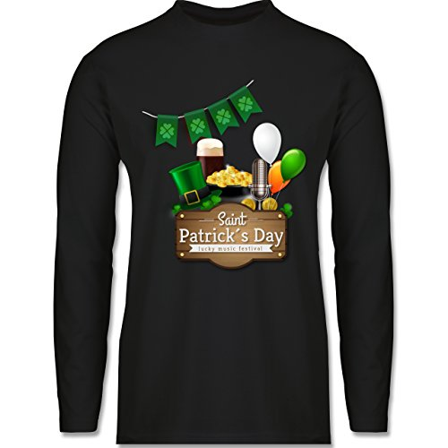Shirtracer Festival - Saint Patrick's Day Happy Music Festival - Herren Langarmshirt Schwarz