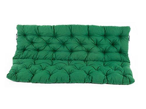 Ambientehome 3er Bank Sitzkissen und Rückenkissen Hanko, grün, ca 150 x 98 x 8 cm, Bankauflage, Polsterauflage