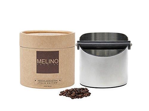 MELINO Abschlagbehälter Abschlagkasten Knockbox aus poliertem Edelstahl und rutschfestem Boden -...