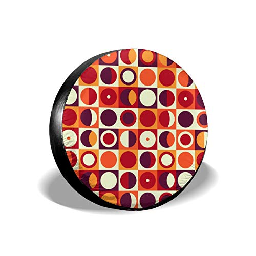 Vinyl Rim Guard (Tire Cover 70S Geometric Abstract Retro 60S Style And Colors Squares Circles Polyester Universal Spare Wheel Tire Cover Wheel Covers Jeep Trailer RV SUV Truck Camper Travel Trailer Accessories 17 inch)