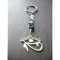 Eye of Horus Gemstone Keyring or Handbag Charm Protection Power Gift