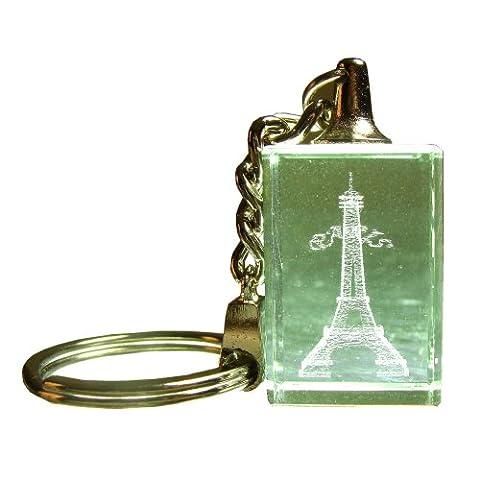 Souvenirs de France - Porte-Clé 'Paris Tour Eiffel' - Matériau : Verre optique