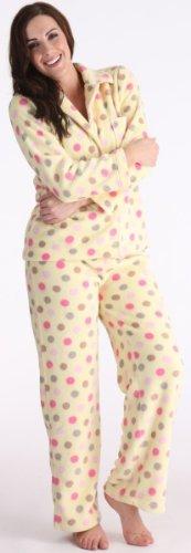 Tom Franks Mesdames Spotty Toison long Pyjamas Set Jaune - Jaune