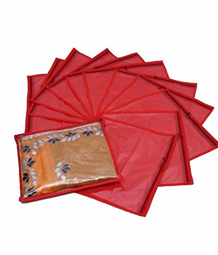 Kuber Industries Single Saree Cover 12 Pcs Set (Red)