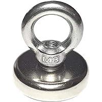 Milchladen 1 sehr starker Neodym Ösenmagnet | Ø 48 mm 68 kg Haftkraft | Öse abnehmbar mit M8 Gewinde