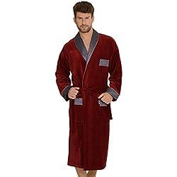 FOREX Lingerie Peignoir/Robe de Chambre Haut de Gamme pour Homme en Coton, Bordeaux, M