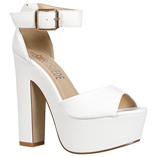 Damen-Sandalen mit Knöchelriemen, klobig, Plateausohle, High-Heel-Schuhe, Größe 36-42, mehrfarbig - Weiß - White Pu - Größe: 36 EU (Block-heel-schuhe)