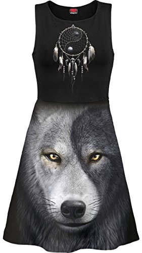Wolf Chi, gothic metal fantasy mesh layered midi skater dress black - XXL - Spiral Direct -