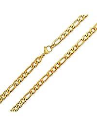 Bling Jewelry Mens Acier Inoxydable plaqué or Collier Chaîne Figaro 7mm
