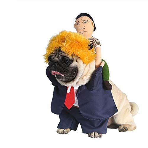 Kostüm Reiter Hut - CHUANG TIANG Cowboy Reiter Hundekostüm, Für Hunde Ritter Outfit Style Mit Puppe Und Hut Für Halloween Tag Haustier Kostüm,S