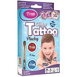 Tytoo Kit de Tatouage à Paillettes pour Garçons, avec 15 modèles Inclus. Hypoallergénique, Durable Jusqu'à 18 Jours