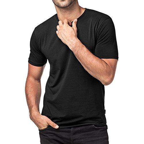 Lapasa 2er Pack Herren T-Shirts - Premium els Baumwolle - Business Kurzarm Unterhemd mit Rundhalsausschnitt für Männer M05 Schwarz