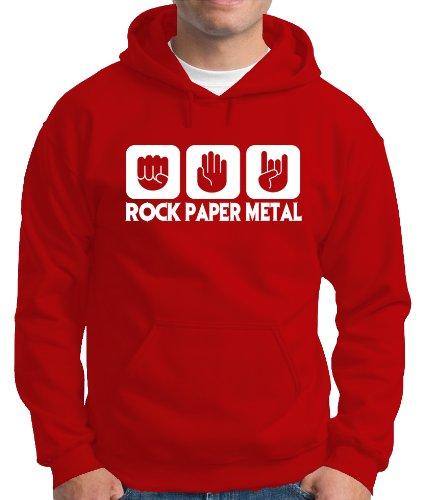 Touchlines Herren  Kapuzen Pullover Stein Papier Rock  Heavy Metal, red, L, B7305 Preisvergleich