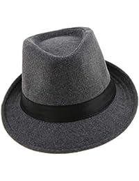 Baoblaze Sombrero de Fieltro Ala Corta Casquilla Plano de Fedora Regalo para Hombres Caballeros