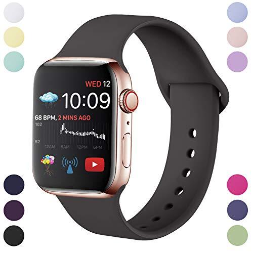 Hamile Correa Compatible con Apple Watch 42mm 44mm, Correa de Repuesto de Silicona Suave para Apple Watch Series 5/4/3/2/1, M/L, Marrón