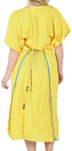 La Leela weicher Viskose komfortabel geräumig und bestickt Frauen langen Kaftan Robe Damen Boho kausalen Bademoden maxi Poncho Gelb