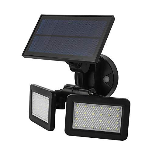 omufipw Lampe Solaire 48 LED à Double tête avec détecteur de Mouvement 16.9 * 9.8 * 0.9 cm Noir