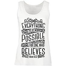 lepni.me Camisetas Sin Mangas Para Mujer Jesucristo: Todo ES Posible Para Quien Cree: Religión Cristiana, Fe, Biblia, Pascua, Resurrección