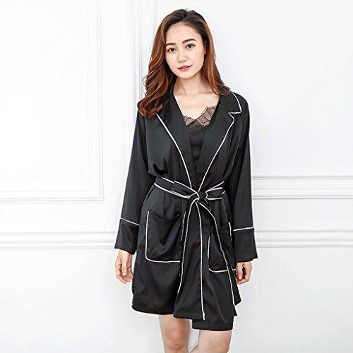 Bademäntel Frühlings-Herbst-Jahreszeit-Dame Ice Silk Sleep Robe-nette lange Hülse Hauptkleidungs GAODUZI (Farbe : Bunte, größe : 90*100*55cm)