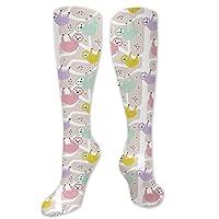 Big Tall Sports Socks for Men Sloth Animal Cute Tropical Rainforest Animals Unisex Boot Long Stocking Women