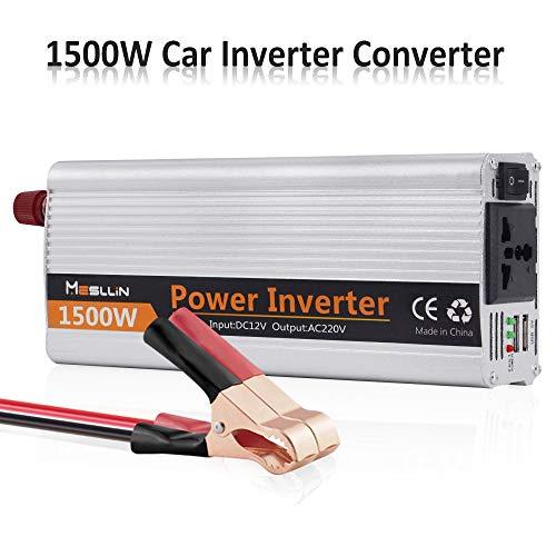 Mesllin Auto-Wechselrichter 1500W (Peak 3000W) DC 12V zu AC 230V 240V Auto modifizierter Sinus-Wechselrichter tragbarer Spannungswandler