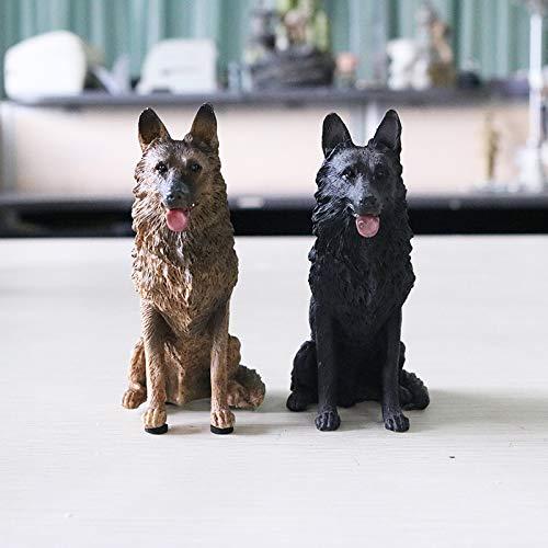 Deko Skulpturen Statue Figur Simulation Deutscher Schäferhund Modell Demu Wolf Dog Schwarz Zurück Autodekoration Harz Kunsthandwerk, Mini Demu (Sitzposition) 2 -