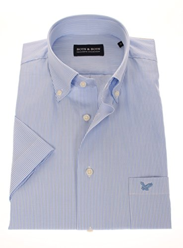 178625 - Bots & Bots - Kurzarm Shirt - Cotton - Button Down - Normal Fit Hellblau