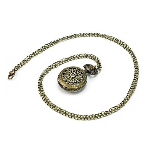 Halskette mit Uhranhänger / Quarz-Taschenuhr mit Kette, Bronze, Antik/Retro-Look, Steampunk-Design