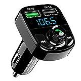 SONRU Transmetteur FM Bluetooth, Deux Ports USB (QC3.0 + 5 V/1 A), Adaptateur de Voiture Bluetooth Transmetteur Radio, A2DP Cristal Qualité de Son, Soutien Carte TF&Lecture de Disque U