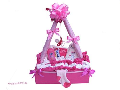| Windelkörbchen | Baby Geschenkset zur Geburt & Taufe (Windeltorte Für Mädchen)