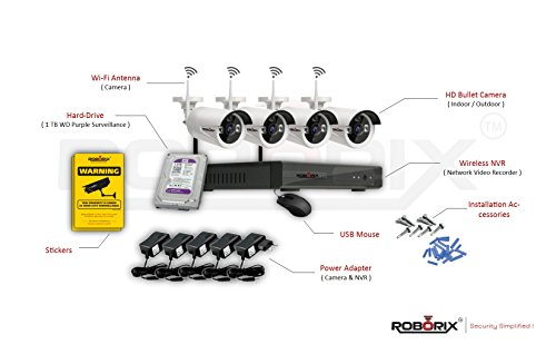 Roborix Wireless Ip Nvr Cctv Security Camera Kit – 4 Channel Nvr (1 Tb Hardisk Included) – 720P Hd Infrared Bullet Cameras Day/Night Vision – Weather Proof – Indoor/Outdoor For Home, Office, Business, Store , Etc Security