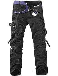 GITVIENAR Salopette Jean Multis Poches Pantalon en Vrac Oversize Homme Pantalon Grande Taille Pointe de Verrouillage à 3 fils pour Camping VTT Travail Activités de Plein Air