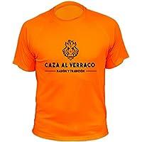 Camiseta de caza, Pasión y Tradición, Caza al Verraco (30131, Naranja, XL)