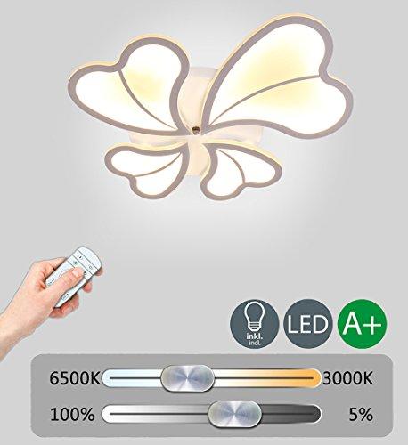 Modern 56W LED Deckenlampe Dimmbar Deckenleuchte Kreative Design Decken Beleuchtung Romantic Dekoration Innenbeleuchtung Hochwertigem Wohnzimmer Leuchte Schlafzimmer Lampe Weiß Acryl Lampenschirm