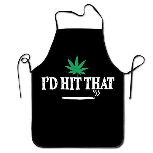 KLYDH I'd Hit That Marijuana Pot Weed Stoner Kitchen Cooking BBQ Apron (Womens Zip-fall-id)