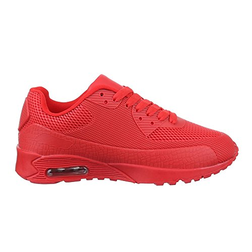 Low-Top Sneaker Damenschuhe Low-Top Sneakers Ital-Design Freizeitschuhe Rot 1