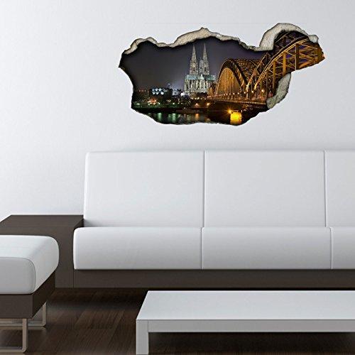 Dalinda® 3D Wandsticker 3D-Optik Köln Stadt Wanddeko 3D Wandtattoo 3D Wandbilder Wandgestaltung DS269 (60x29cm)