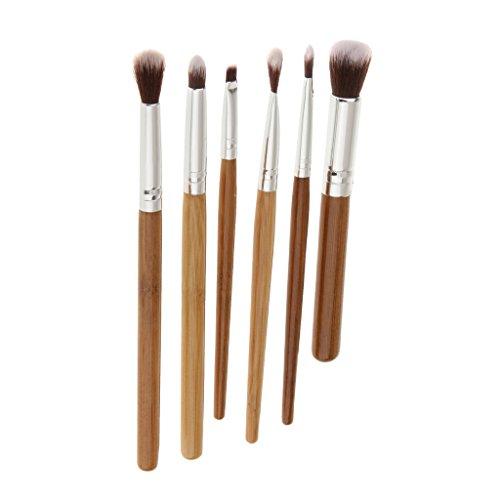 Set 6pcs Pinceaux de Maquillage Poignée en Bambou