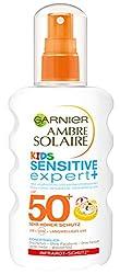 Garnier Ambre Solaire Kids Sensitive expert+ Sonnenschutz, mit LSF 50+, speziell für Kinder, zieht schnell ein, extra wasserfest, 200 ml