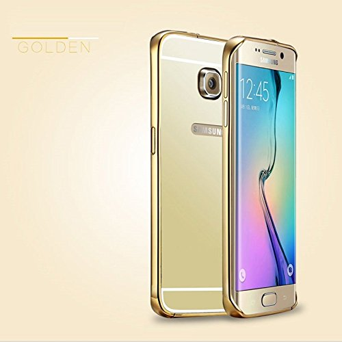 LUXUS Aluminium Metall Spiegel Mirrow Bumper Case Back Cover Tasche Schutz Hülle für Samsung Galaxy Note 4 - Luxury Gold ▄▀▄▀▄