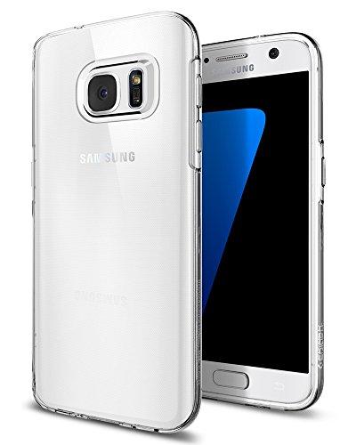 Samsung Galaxy S7 Hülle, Spigen® [Liquid Crystal] Soft Flex Silikon [Crystal Clear] Transparent Ultra Dünn Schlank Bumper-Style Handyhülle Premium Kratzfest TPU Durchsichtige Schutzhülle für Samsung Galaxy S7 Case Cover - Crystal Clear (555CS20006) (Flex-7 Objektiv)
