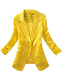 a174965cb HUHU833 Women One Suit Button Blazer Lace Floral Solid Slim Work Office  Long Sleeve Coat Cardigan